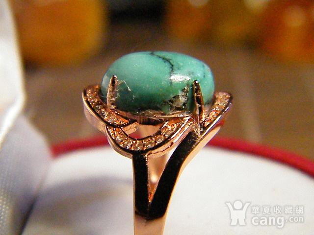 天然原矿绿松石925彩银戒指图5