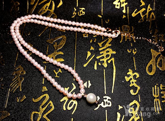 夏天就要美美哒!柔美杏粉色强光正圆海洋贝珠项链锁骨链!图3