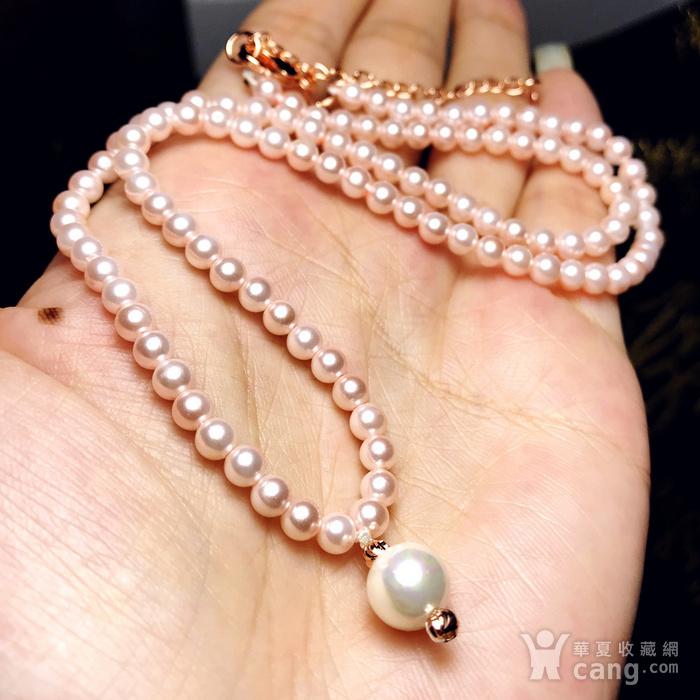 夏天就要美美哒!柔美杏粉色强光正圆海洋贝珠项链锁骨链!图1