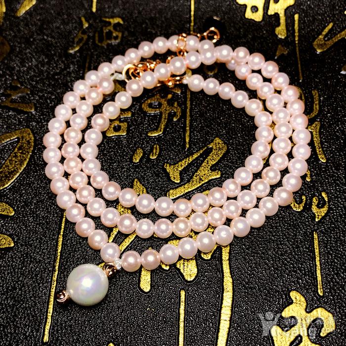夏天就要美美哒!柔美杏粉色强光正圆海洋贝珠项链锁骨链!图9
