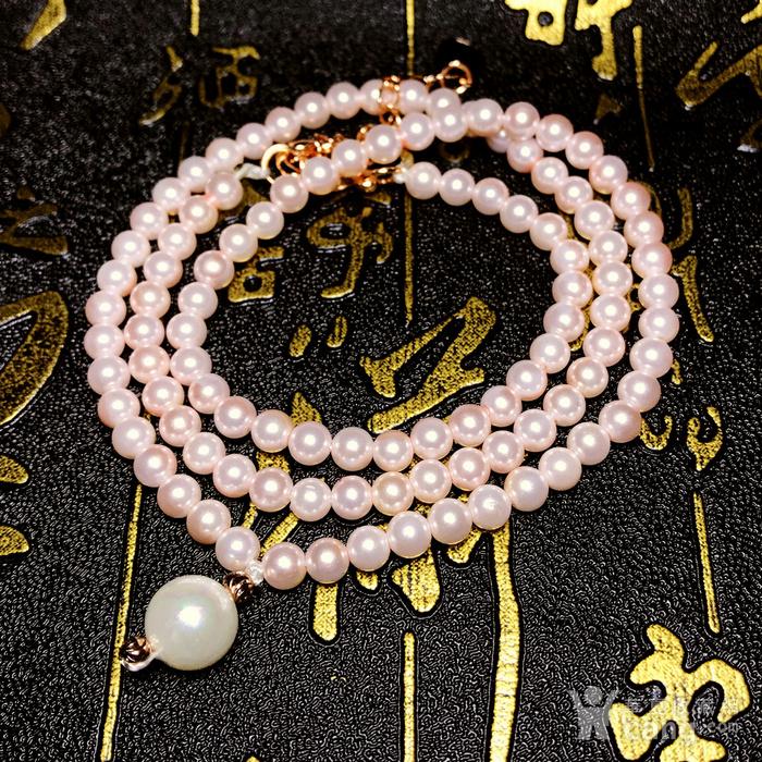夏天就要美美哒!柔美杏粉色强光正圆海洋贝珠项链锁骨链!图7