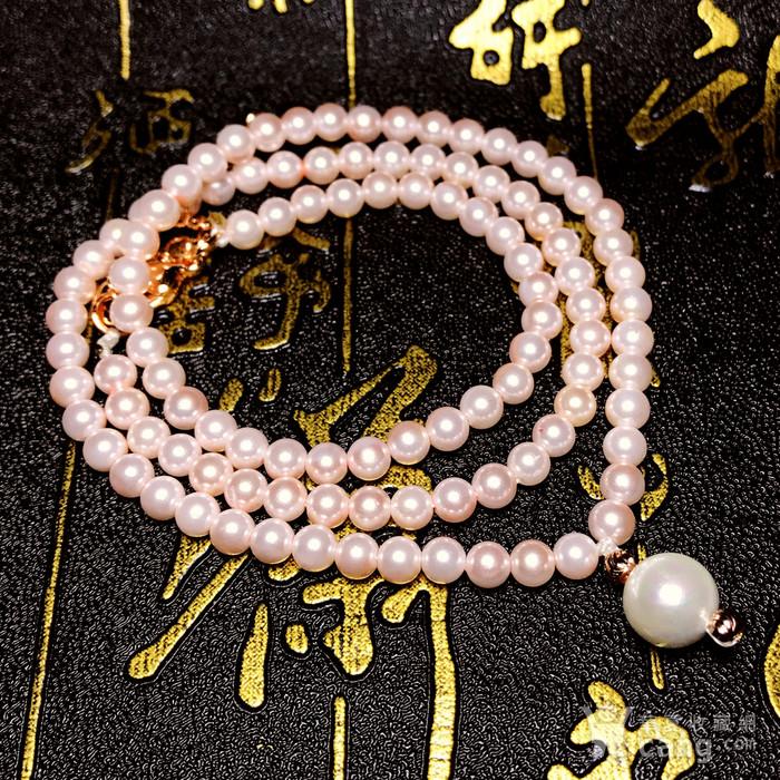 夏天就要美美哒!柔美杏粉色强光正圆海洋贝珠项链锁骨链!图4