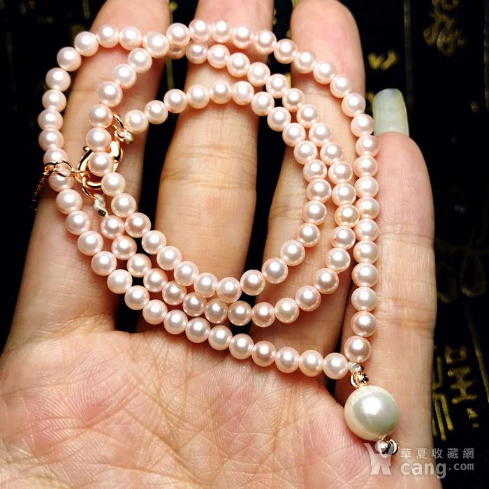 夏天就要美美哒!柔美杏粉色强光正圆海洋贝珠项链锁骨链!图10