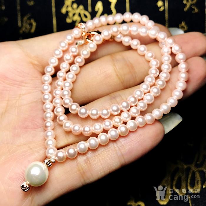 夏天就要美美哒!柔美杏粉色强光正圆海洋贝珠项链锁骨链!图11