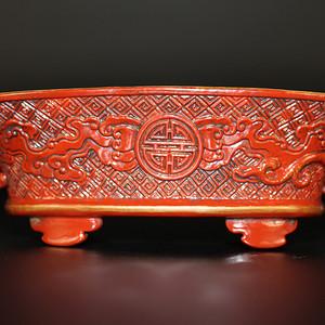 欧亚回流仿漆木釉雕刻螭龙笔洗 注:全瓷制