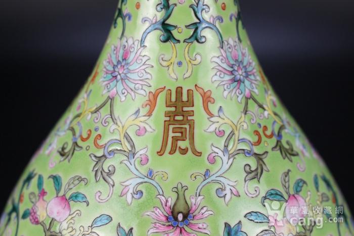 欧亚回流粉彩绿地缠枝莲纹玉壶春瓶图5