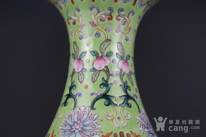 欧亚回流粉彩绿地缠枝莲纹玉壶春瓶图6