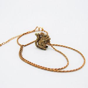松鼠金属铜项链
