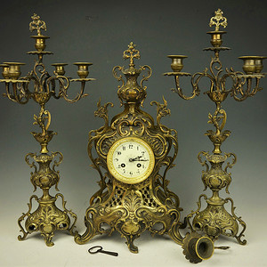 欧美回流   法国十九世纪铜壁炉钟一套