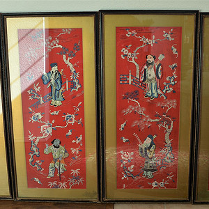 欧美回流   清晚期四条幅八仙过海精美绣品连框