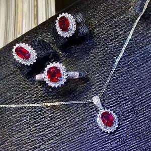 天然缅甸红宝石套装假一赔万送国检证书