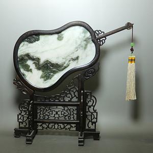 金牌 玉雕大师精品推荐独山玉意境山水摆件扇面 屏风