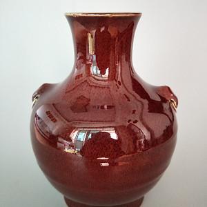 金牌 清早中期祭红釉兽耳瓶