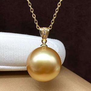 天然海水金珍珠吊坠18k金镶嵌无加色 假一赔万
