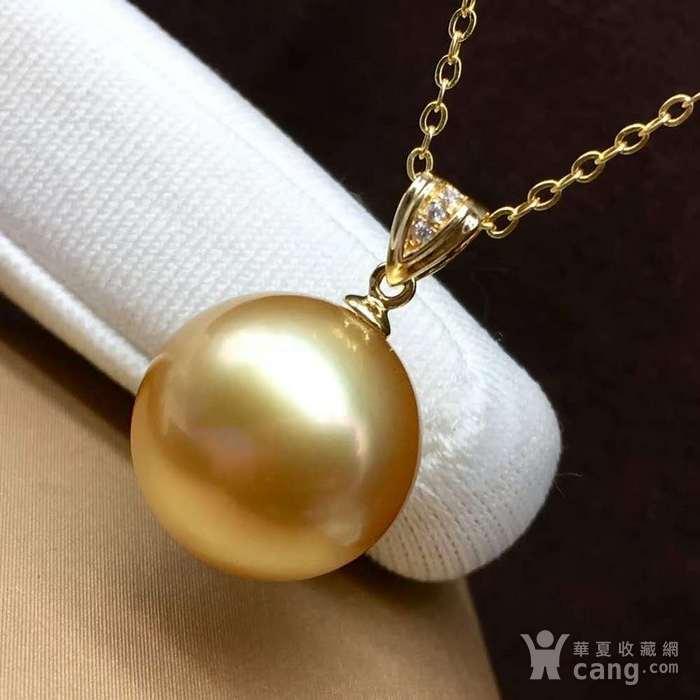天然海水金珍珠吊坠18k金镶嵌无加色 假一赔万图4