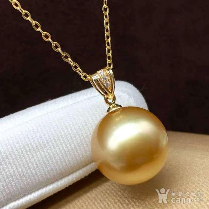 天然海水金珍珠吊坠18k金镶嵌无加色 假一赔万图3