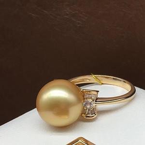 天然海水金珍珠戒指14k金镶嵌 假一赔万 无加色 无瑕疵
