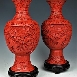 欧美回流   一对创汇时期铜胎雕漆花卉纹饰大瓶