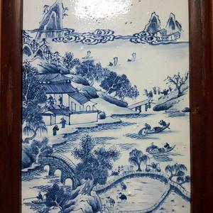 联盟 清乾隆青花魚:桥:耕:读瓷版画