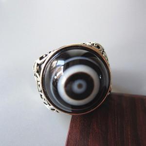天然 玛瑙 镂空 戒指 眼正 圆