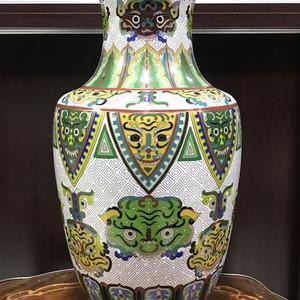 0114 清 铜鎏金掐丝珐琅饕餮纹棒槌瓶