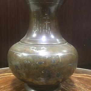 0124 清 铜错金银人物故事赏瓶