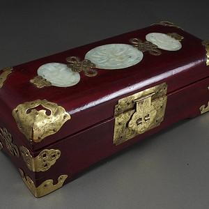 国外回流天然玉镶嵌包铜硬木文房箱