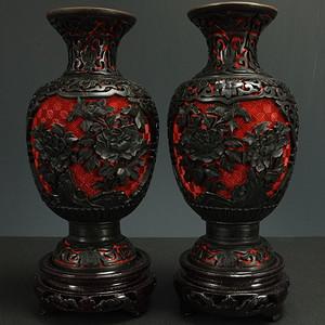 纯手工精雕剔红漆器 灯笼瓶 一对