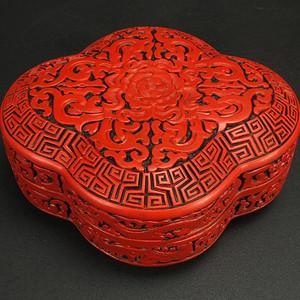 清代 剔红漆器 多角盒子