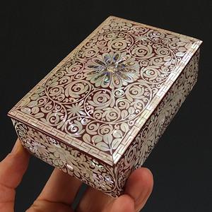 精雕螺鈿镶嵌硬木漆器文房箱