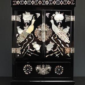实用螺鈿镶嵌硬木漆器文房箱