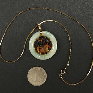 国外回流银镶嵌天然翡翠项链吊坠