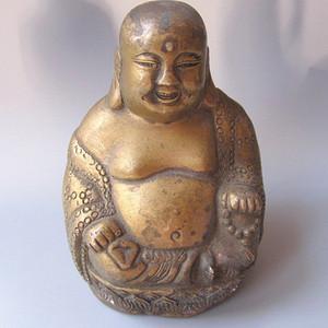 有些年头 铜制 弥勒佛 手工雕刻 开脸漂亮 请回家 保一生平安 高14