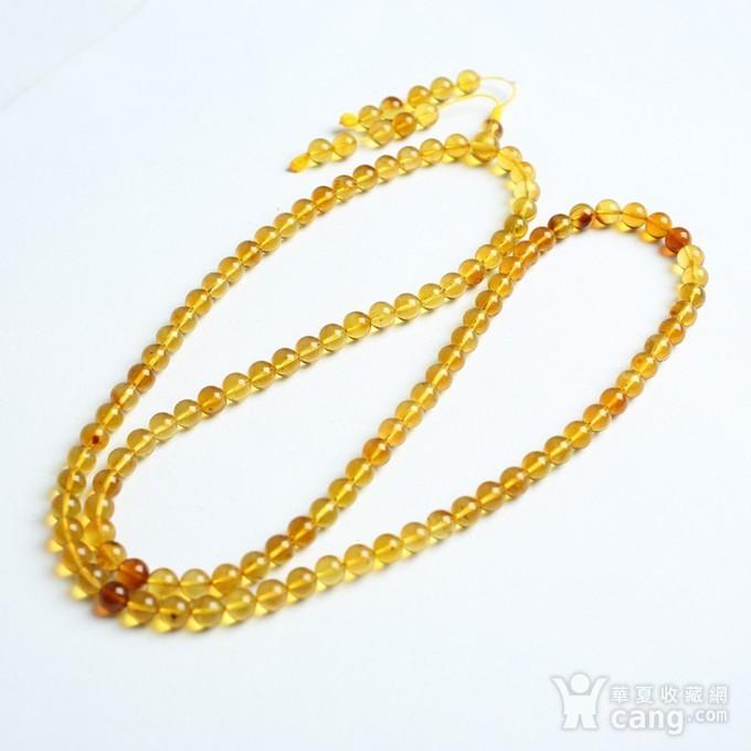 金棕缅甸琥珀108佛珠项链 6mm  24KH02图4