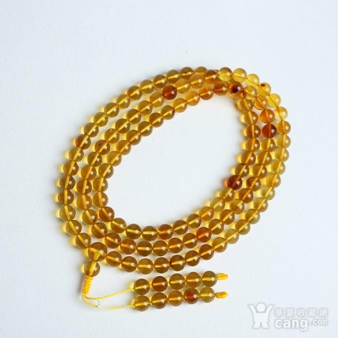 金棕缅甸琥珀108佛珠项链 6mm  24KH02图3