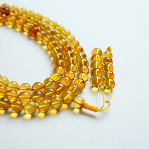 金棕缅甸琥珀108佛珠项链 6mm  24KH02
