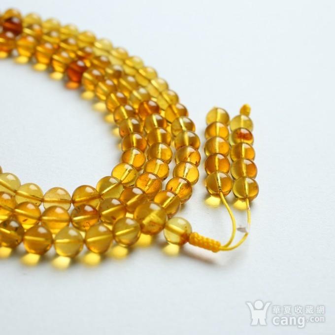 金棕缅甸琥珀108佛珠项链 6mm  24KH02图1