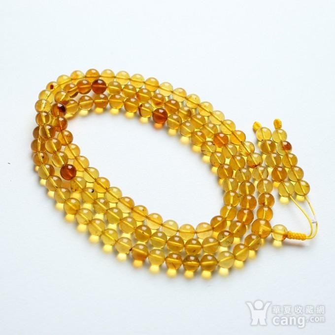 金棕缅甸琥珀108佛珠项链 6mm  24KH02图2