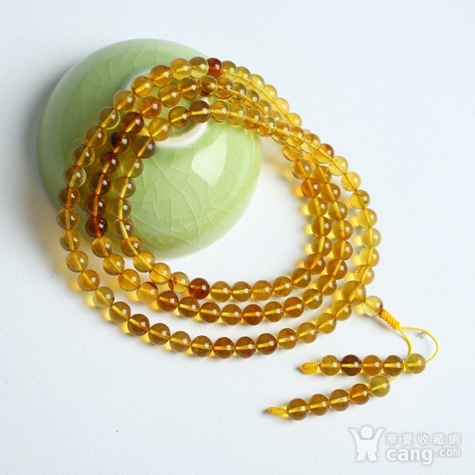 金棕缅甸琥珀108佛珠项链 6mm  24KH02图9