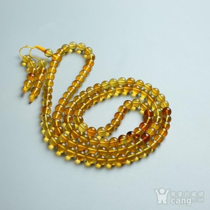 金棕缅甸琥珀108佛珠项链 6mm  24KH02图11