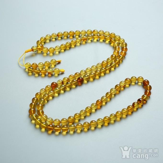 金棕缅甸琥珀108佛珠项链 6mm  24KH02图5