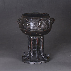 明清 浮雕 铜香炉