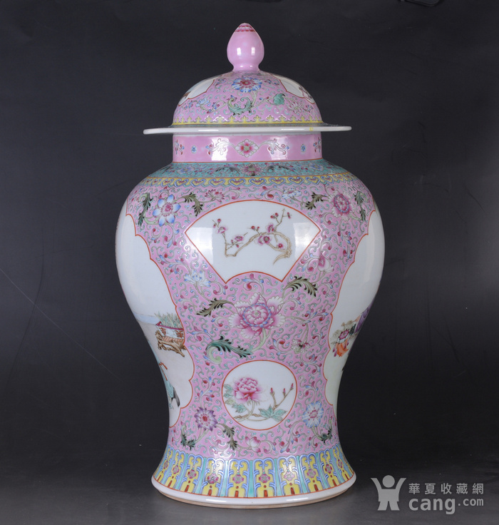 60年代 粉彩 李太白高力士 大将军罐图4