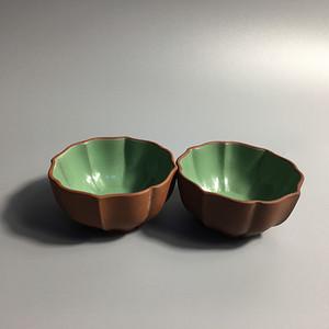 联盟  精美 紫砂 绿釉 茶碗