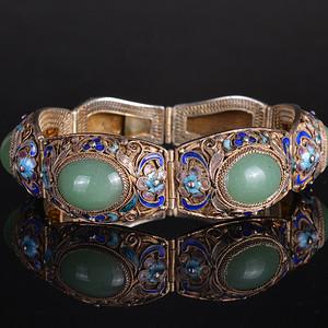 欧洲回流 银镀金镶嵌宝石 手链