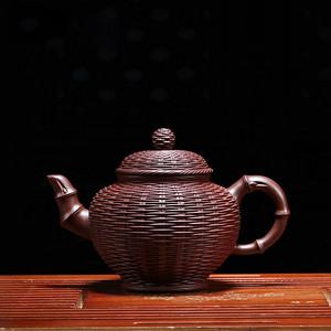 紫砂壶 笑樱竹编壶