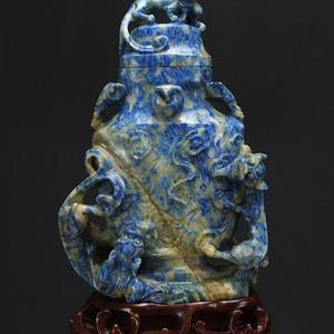 天然 青金石 精雕 镂空雕  摆件