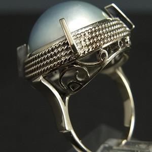 美国回流14K金天然珍珠宝石戒指