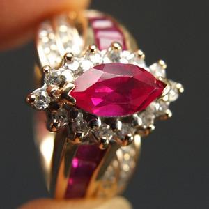 回流10K金镶嵌天然红宝钻石 戒指