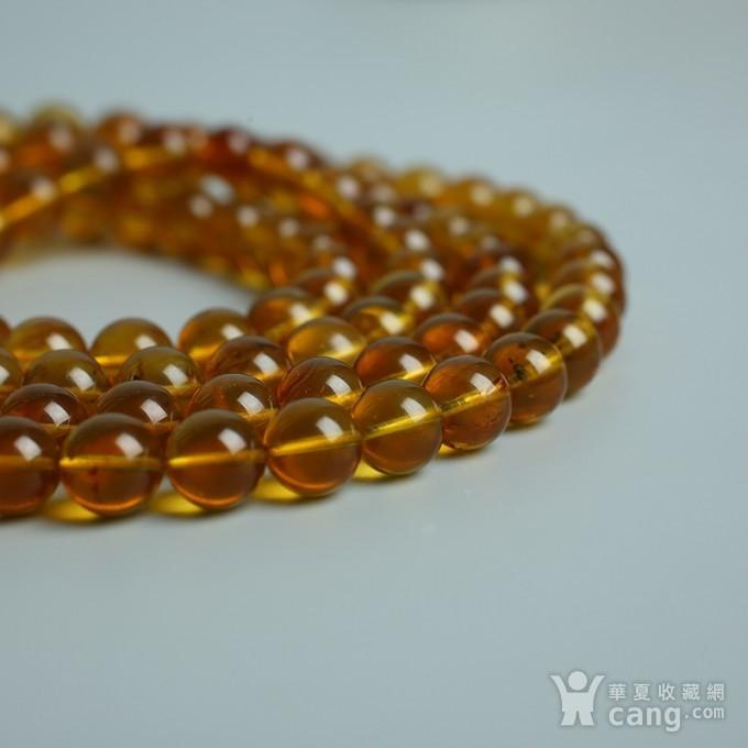 金棕缅甸琥珀108佛珠项链 7mm  24KH15图4